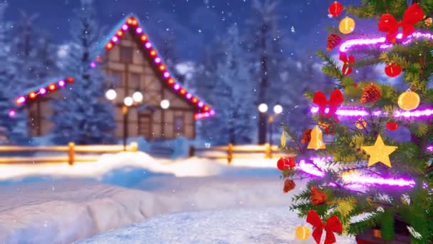Close Outdoor Christmas Tree Decorated Christmas Lights Garland