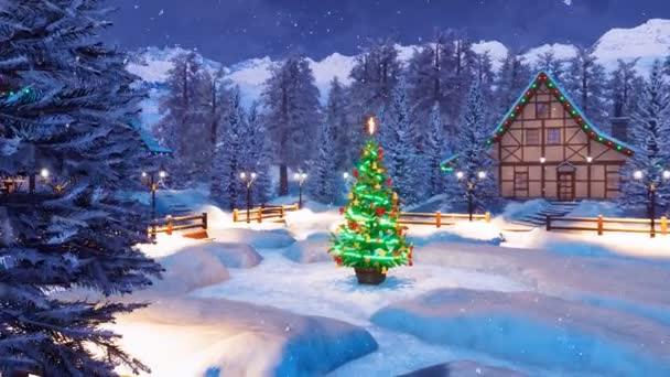 Cozy snow covered alpine township high in mountains with illuminated half-timbered houses and decorated Christmas tree at snowfall winter night. Festive 3D animation for Xmas or New Year holidays