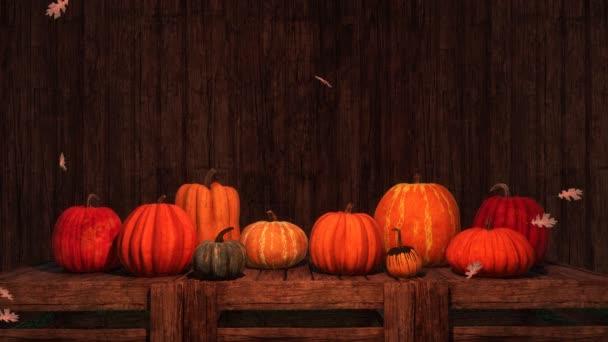 Různé barevné dýně a klesající podzimní listy tmavé rustikální dřevěné pozadí s místem pro text. Na podzim sezóny 3d animace pro díkůvzdání nebo Halloween svátky vykreslovány v rozlišení 4k