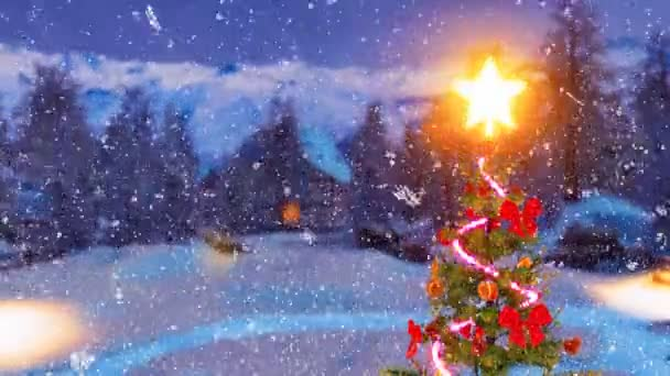 Top of outdoor Christmas tree decorated by luminous star and blinking garland lights with blurred snow covered rural landscape on background at snowfall winter night. 3D animation for Xmas or New Year