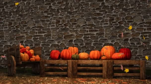 Den díkůvzdání scény na venkovský trh s barevné dýně a klesající podzimní listy hrubé kamenické stěna pozadí s kopie prostoru. Na podzim sezóny slavnostní 3d animace vykreslen v rozlišení 4k