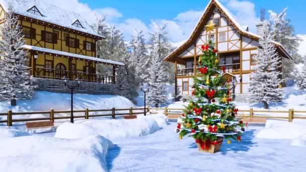 Venkovní zdobené vánoční strom na náměstí útulného zasněžené alpské horské městečko s hrázděnými domy na mrazivý zimní den. 3D animace pro vánoční nebo novoroční svátky vykreslen v rozlišení 4k