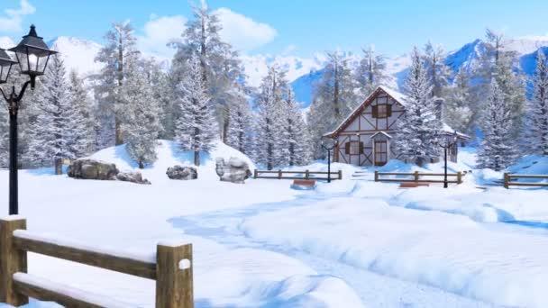 Útulné roubené venkovský dům mezi zasněžené jedle vysoký v zasněžených alpských horách zasněžené na mrazivý zimní den. Bez lidí 3d animace pro vánoční nebo novoroční svátky