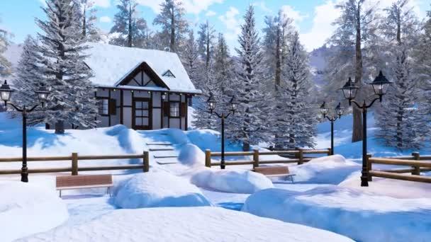 Hangulatos Hófúvásából favázas alpesi vidéki ház hó között fedett havas hegyek magas fenyők fagyos téli napon. Nem az emberek 3d animáció, karácsony vagy újévi ünnepek.