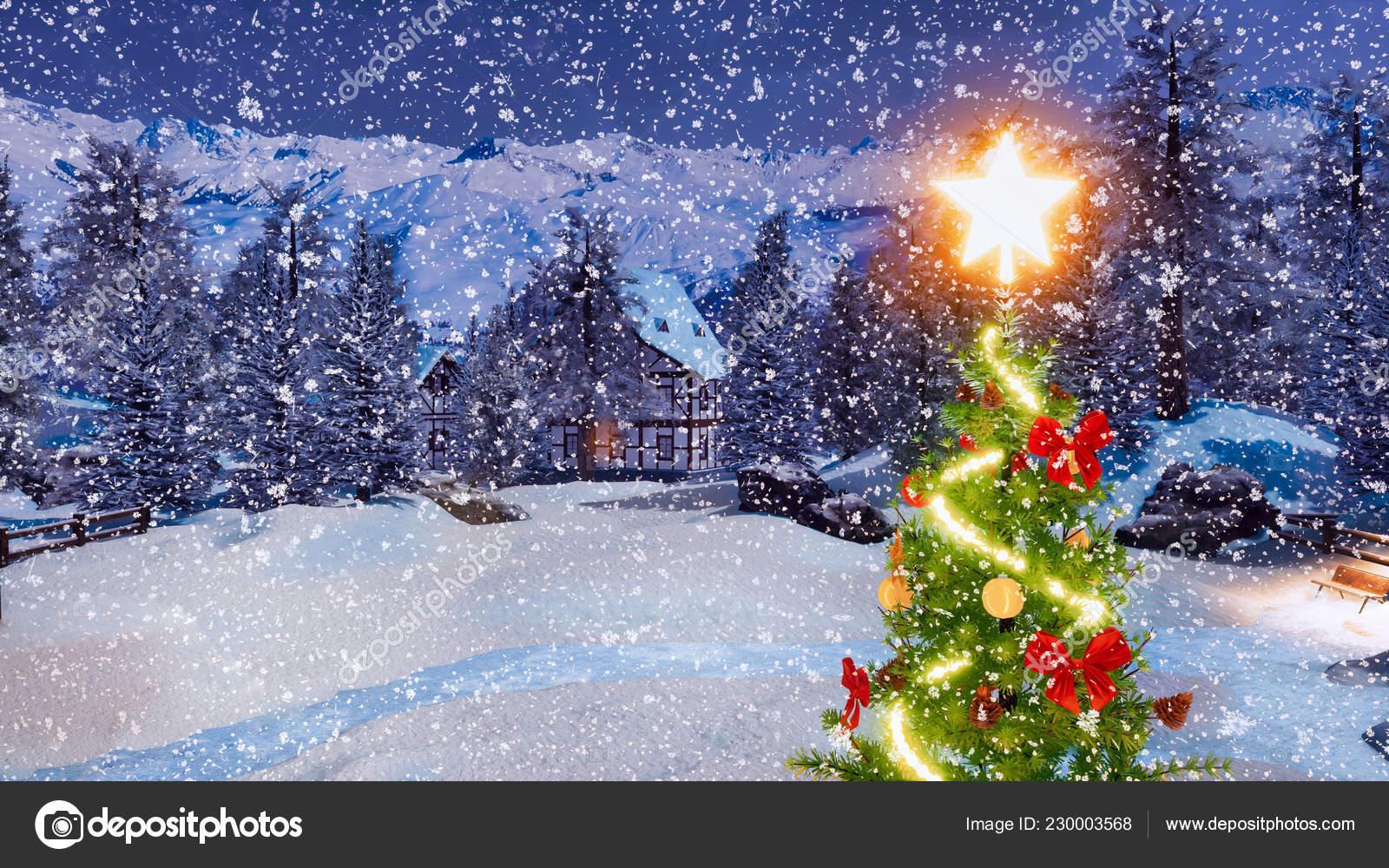 Stella Albero Di Natale Luminosa.Parte Superiore Dell Albero Natale Esterno Decorato Stella Luminosa