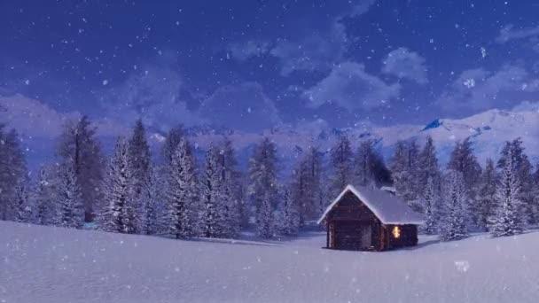 Klidné zimní krajina s útulnou osamělý dřevěný dům mezi sněhem zahrnuty Jedlovém lese vysoká v zasněžených alpských horách v noci během silného sněžení. Bez lidí 3d animace vykreslen v rozlišení 4k