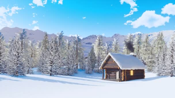 Cozy snow covered wooden house with smoking chimney and lighted window among snowbound pine forest high in snowy alpine mountains at calm winter day. With no people 3D animation rendered in 4K