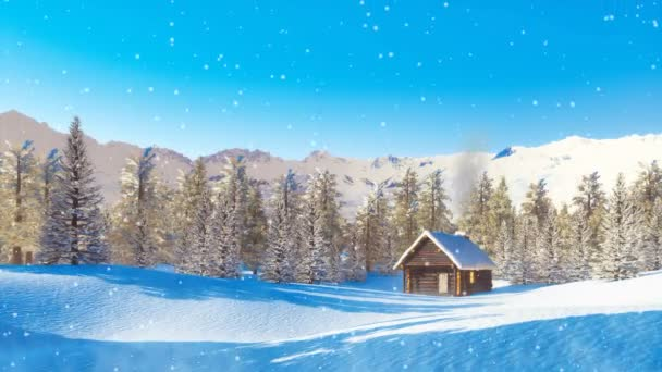 Peaceful winter landscape - solitary log cabin with smoking chimney among snow covered pine forest high in mountains at wintry day during snowfall. 3D animation in cinemagraph style rendered in 4K