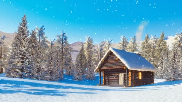 Cozy snowbound log cabin with smoking chimney among snow covered fir forest high in alpine mountains at winter day with slight snowfall. Decorative 3D animation in cinemagraph style rendered in 4K