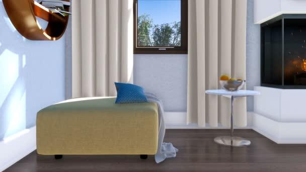 Detail interiéru moderní obývací pokoj s jednoduchým náměstí osmanské židlí, konferenční stolek a hořící krb ve dne. Bez lidí realistické 3d animace vykreslen v rozlišení 4k