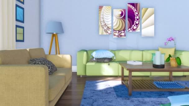 Világos nappali belső modern minimalista stílusban, kényelmes kanapé, dohányzóasztal és kortárs műalkotások a nappali falán. Nem emberek 3d animáció jelenik meg, a 4k