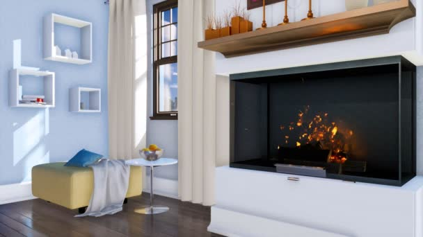 Obývací pokoj interiér ve stylu moderní minimalistický design s hořící krb v popředí ve dne. Bez lidí realistické 3d animace vykreslen v rozlišení 4k
