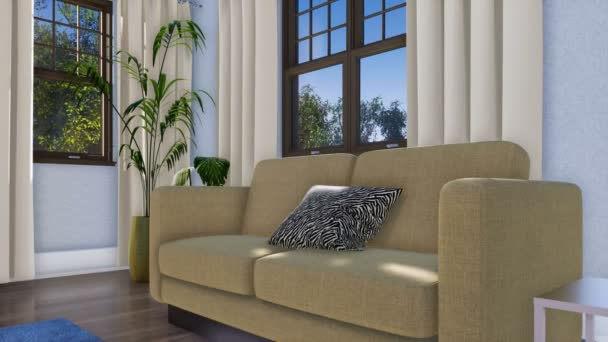 Close-up of simple comfortable sofa in modern minimalist living room interior at daytime. With no people realistic 3D animation rendered in 4K