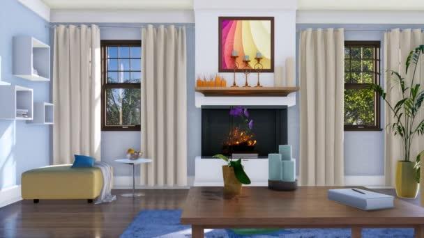 Modern, világos nappali belső fal kandalló, kanapék, előtérben a nappali egyszerű, fából készült dohányzóasztal. Nem emberek reális 3d animáció jelenik meg, a 4k