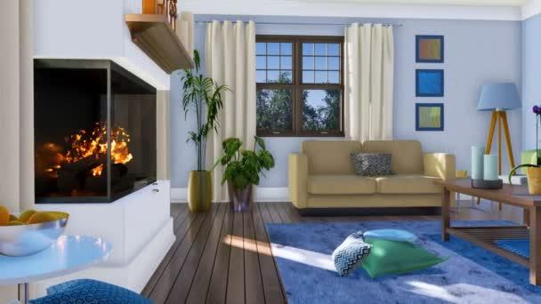 Panorama moderní obývací pokoj interiéru s hořícím krbem, pohodlné pohovky a současná umělecká díla na stěnách ve dne. Bez lidí realistické 3d animace vykreslen v rozlišení 4k