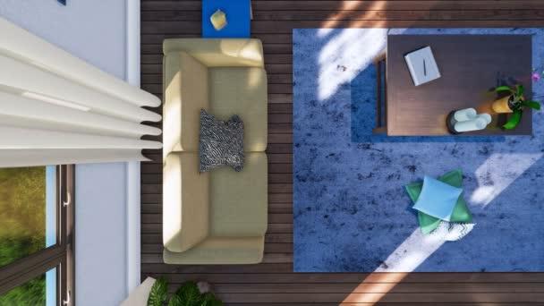Pohled shora dolů interiéru moderní minimalistický obývací pokoj s pohovkou, jednoduchý dřevěný konferenční stolek a modré načechraný koberec na parketové podlaze ve dne. Bez lidí 3d animace vykreslen v rozlišení 4k