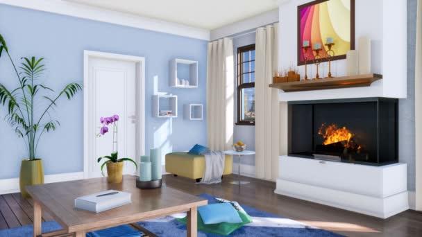 Luminoso soggiorno interni in stile moderno design minimalista con ardente  camino e tavolino in legno semplice durante il giorno. Con nessuna  animazione 3d realistica di persone resa in 4K