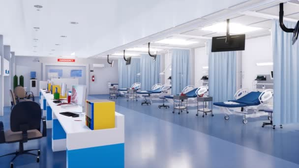 Interior of emergency room in a modern clinic with empty hospital beds, reception area and various medical equipment. With no people 3D animation on health care theme rendered in 4K