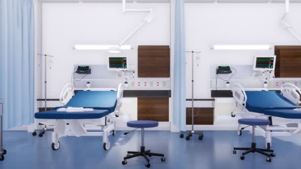 Row of empty hospital beds and various first aid medical equipment in emergency room of modern clinic. With no people 3D animation on medicine and health care theme rendered in 4K
