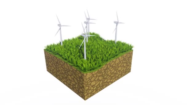 Rotating wind turbines on a cross section slice of abstract ground with green grass isolated on white background with copy space. Ecological and conservation concept 3D animation rendered in 4K
