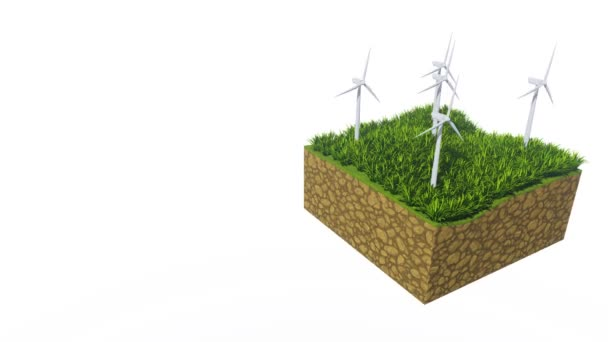 Rotating wind turbines on a cross-section slice of abstract ground with lush green grass isolated on white background with copy space. Ecological concept decorative 3D animation rendered in 4K