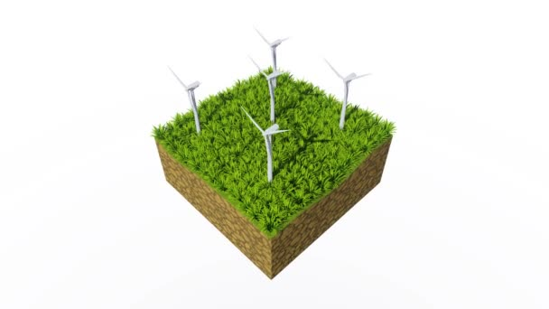 Cross section of abstract ground with rotating wind turbines and lush green grass against white background. Ecological and conservation concept 3D animation rendered in 4K