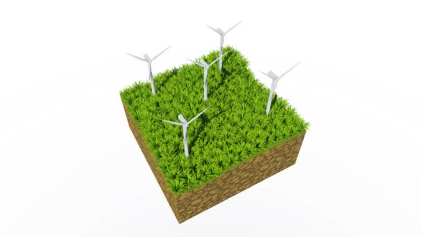 Cross section of abstract ground with rotating eco-friendly wind turbines on fresh green grass isolated on white background. Ecological and conservation concept 3D animation rendered in 4K