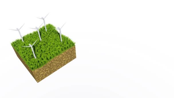Top down view of rotating wind turbines on a cross section of abstract ground with green grass isolated on white background with copy space. Ecological concept decorative 3D animation rendered in 4K