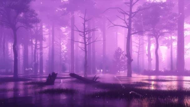 V temné, mlhavé noci se ve vzduchu rozlétly nadpřirozené pohádkové světlýky. Jako lesní scenérie ve stylu cinemlehu 3D animace vykreslená v 4k