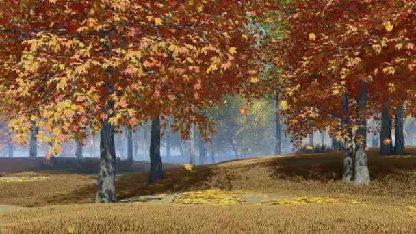 Nyugodt őszi táj őszi levelek alá színes juharfák lassítva nappali. -Val nem emberek esés évszak valószerű 3D élénkség viszonoz-ban 4k