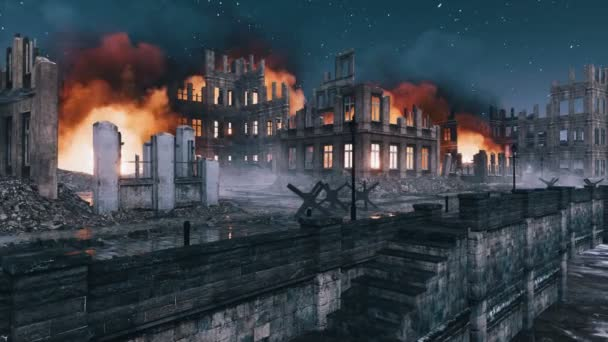 Abandoned european city destroyed after the bombing of the World War 2 with burning building ruins along the empty riverfront at night. With no people historical military 3D animation rendered in 4K