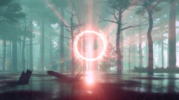mystische sumpfige Wald mit fantastischen glühenden Portal zu einer anderen Welt und übernatürlichen Fee Glühwürmchen Lichter schweben in der nebligen Luft bei Sonnenuntergang. Fantasie 3D Animation in 4k gerendert