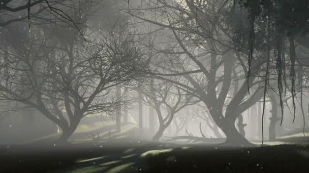 übernatürliche Feen-Glühwürmchen, die in der Luft zwischen gruseligen abgestorbenen Bäumen in einem unheimlich mystischen Nachtwald schweben. Traumhafte Waldlandschaft Fantasie 3D Animation in 4k gerendert