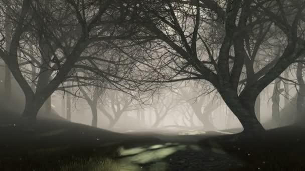 geheimnisvoller Wald mit magischen Leuchtkäferlichtern, die in der Luft zwischen gruseligen abgestorbenen Baumsilhouetten in dunkler Dämmerung oder Nacht fliegen. Fantasie Waldlandschaft 3D-Animation in 4k gerendert