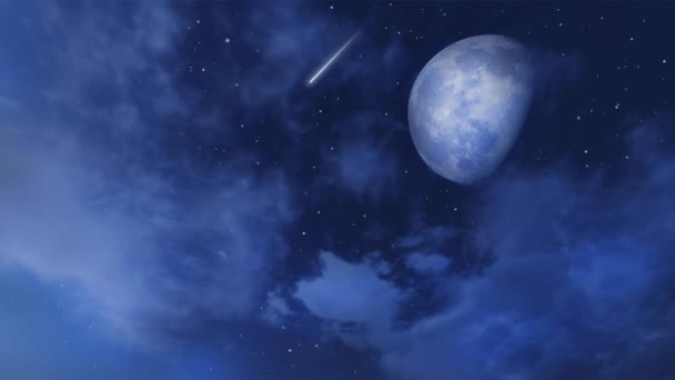 Starry night sky with shooting stars or meteors and fantastic big moon obscured by fluffy clouds. Loop able fantasy 3D animation rendered in 4K