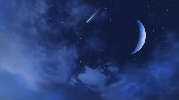 Fantastic starry night sky with falling stars or meteors, big half moon and fluffy clouds. Loop able fantasy 3D animation rendered in 4K