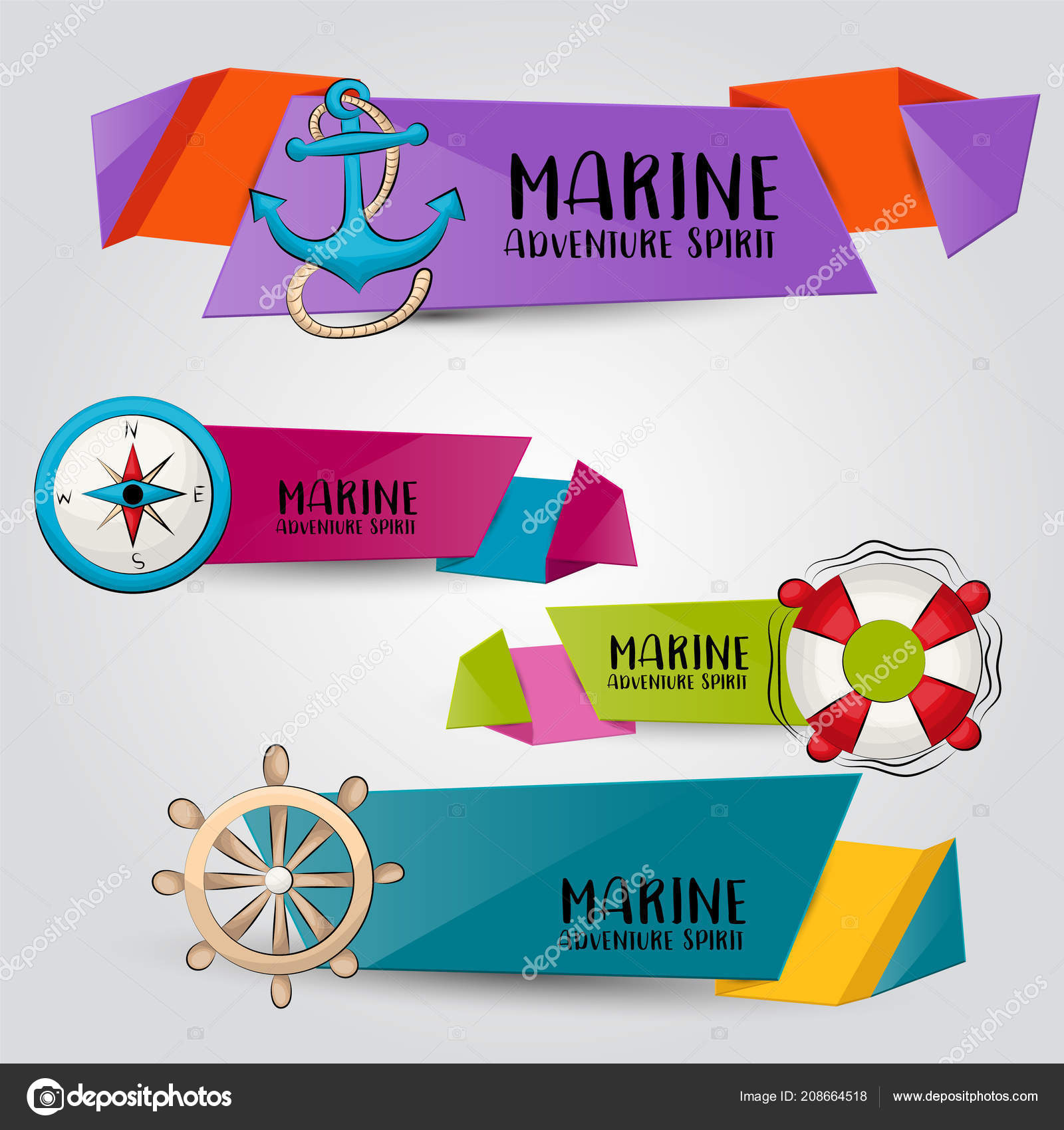 Marine Nautical Travel Concept Horizontal Banner Template Set Modern