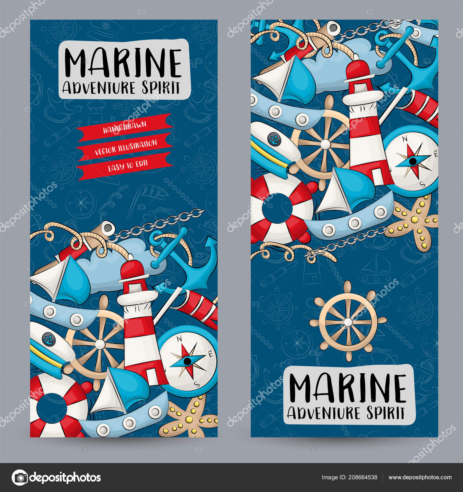 Marine Nautical Travel Concept Vertical Banner Template Set Modern