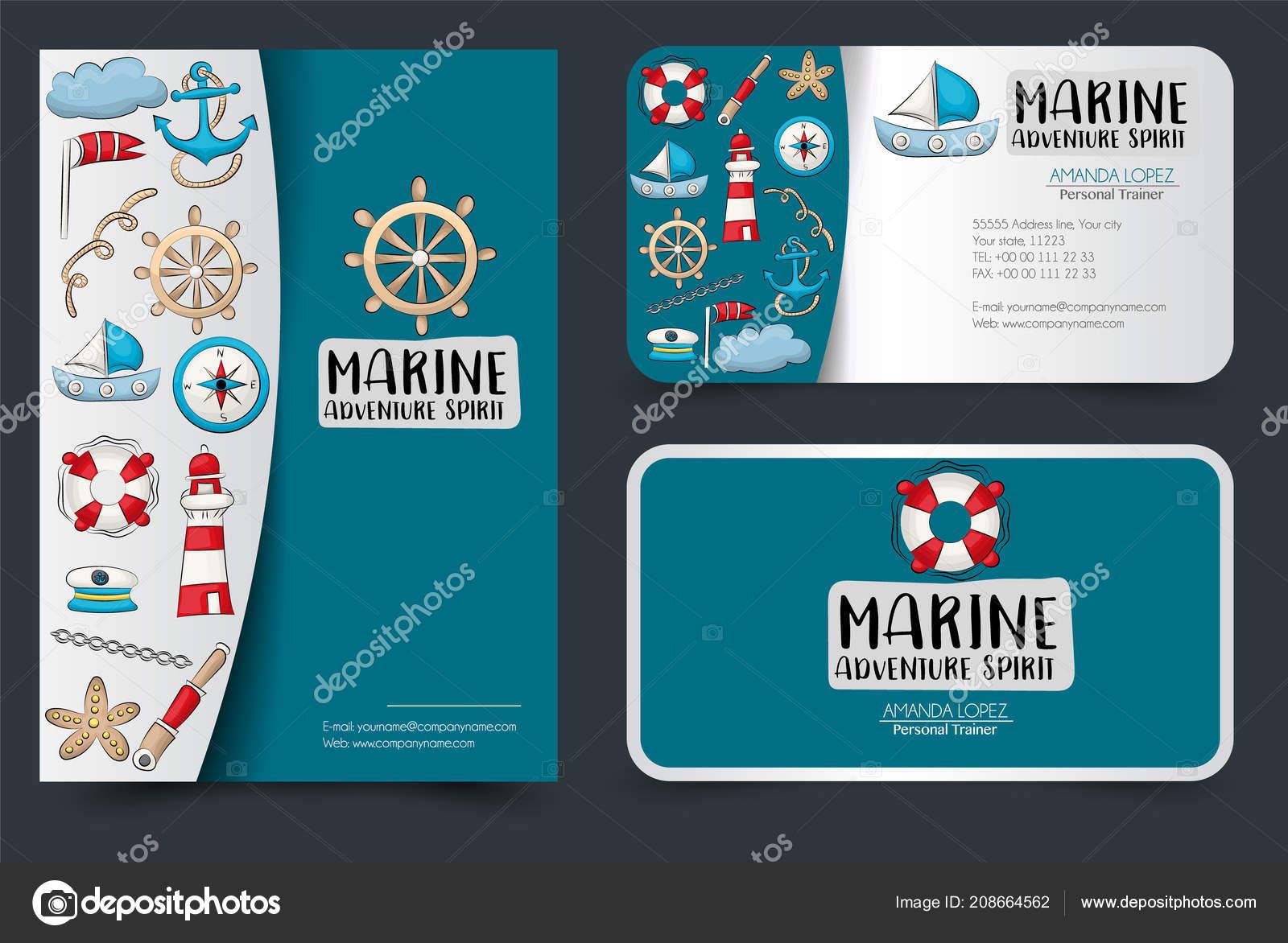 Marine Nautik Design Reiseset Flyer Und Visitenkarten