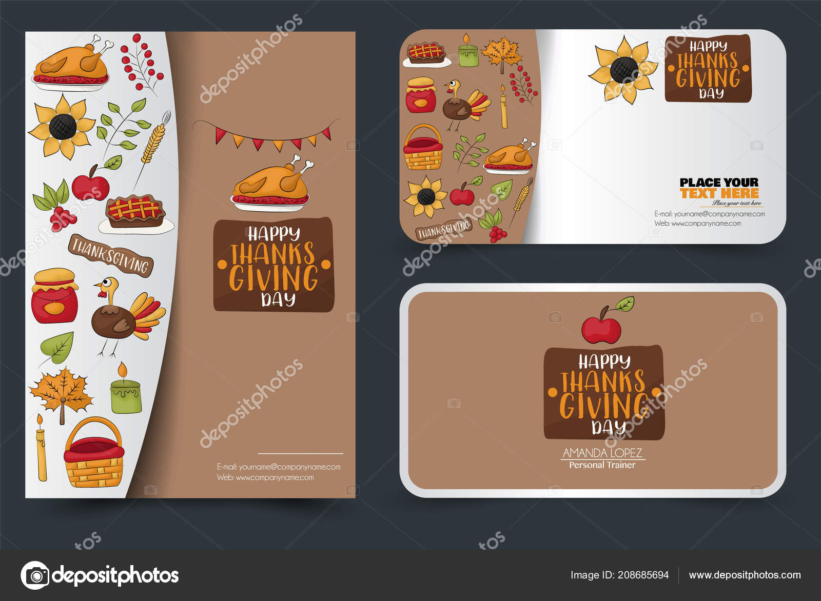 thanksgiving flyer banner business card set poster template party