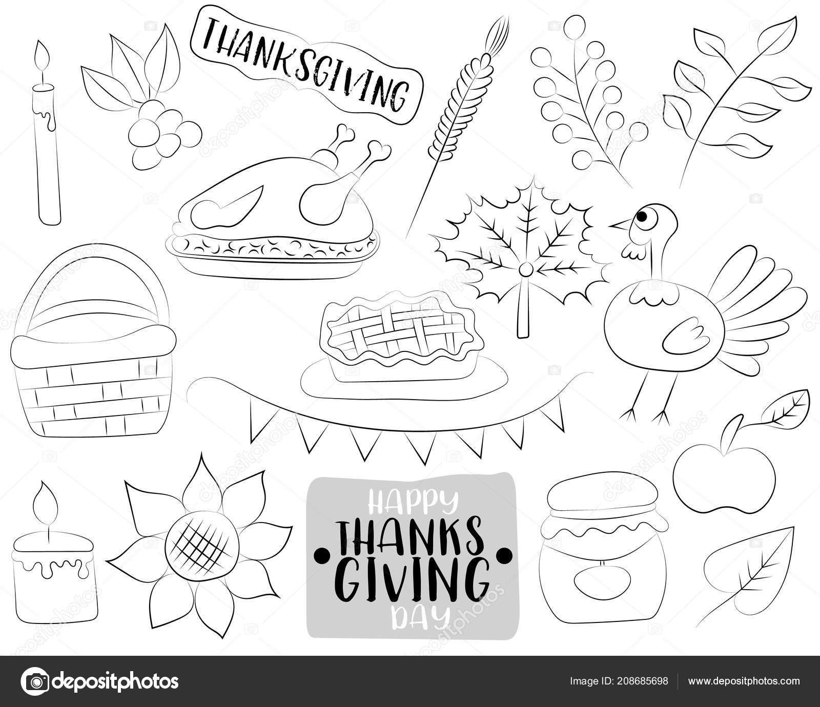 Feliz Día Acción Gracias Dibujos Animados Iconos Objetos Del