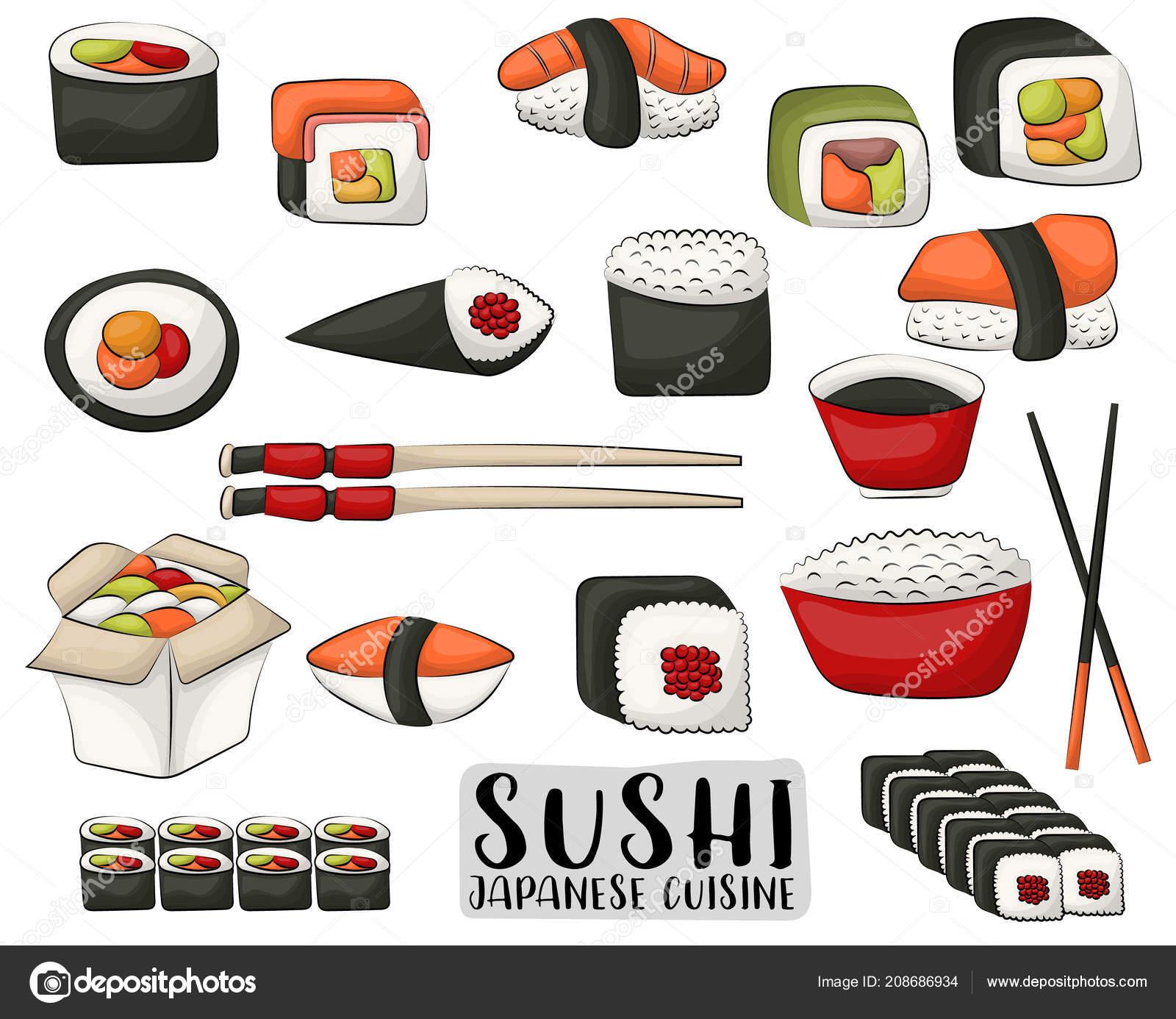 Set Sushi Panini Concetto Cucina Giapponese Icone Oggetti Menu ...