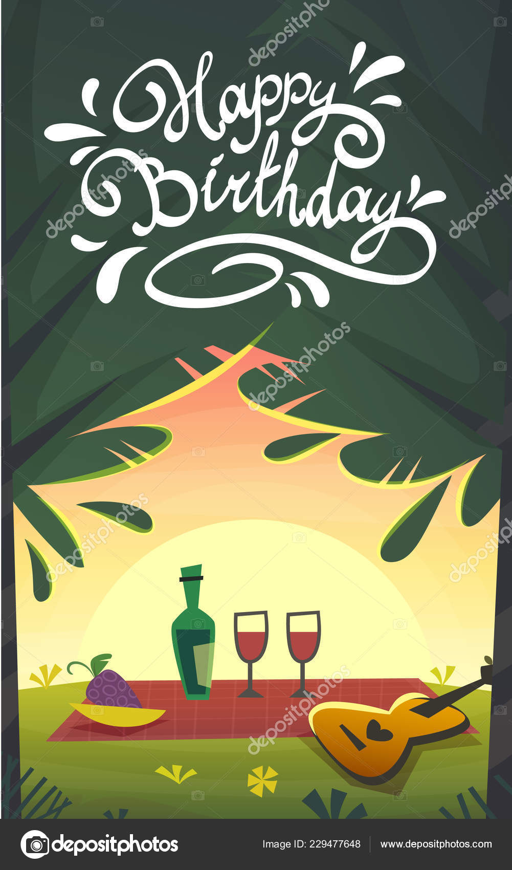 Happy Birthday Cartoon Funny Card Picnic Barbeque Celebration Bbq Nature Stock Vector