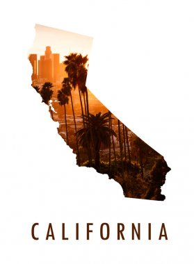 Los Angeles picture inside of California map stock vector