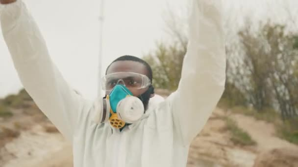 African american fired man activist strike for jobs with coronavirus crisis banner in nature environment outdoors. Portrait. Pandemic. Quarantine 2020. Unemployment.