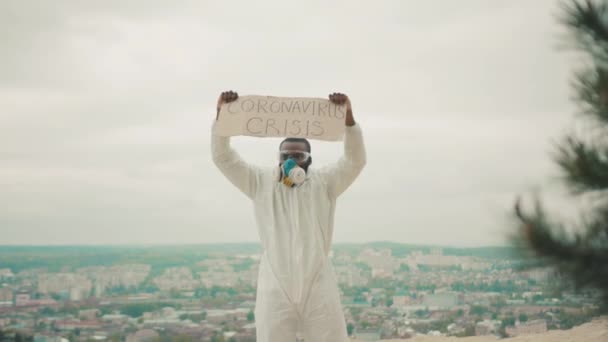 Job strike. Fired director business man in white hazmat overall protective suit fighting against unemployment. Coronavirus crisis banner. Pandemic. Quarantine.
