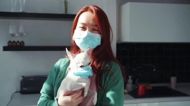 Mladá žena a její pes nosí masky a zůstávají doma. Krásná čínská dívka drží a objetí rozkošné bílé Chihuahua štěně v kuchyni. Péče o lidi a zvířata.