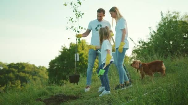 Slow motion young family with dog plant tree stand hug each other care green garden man environment agriculture planet ecology teamwork gardening close up