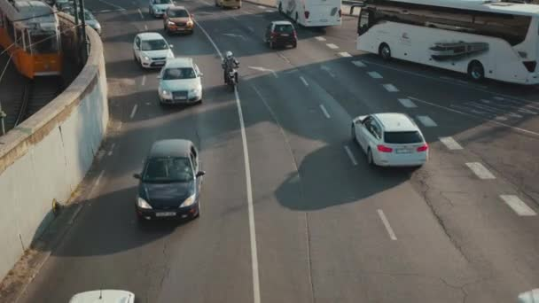 Budapest, Hungary - May 19, 2019: Slow motion traffic surveillance system in highway the cars go at breakneck speed urban above learning transport machine drive control technology future autonomous