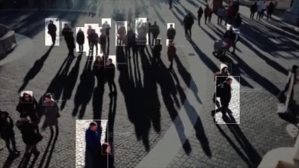 Gesichtserkennung. Zukunft. Technologisches 3D-Scannen. Betrachten Sie die Kamera von Menschen, die gehen. Künstliche Intelligenz. Gesichtserkennung. Technologisches Scannen des Gesichts von Menschen, die persönliche Informationen für jeden zeigen